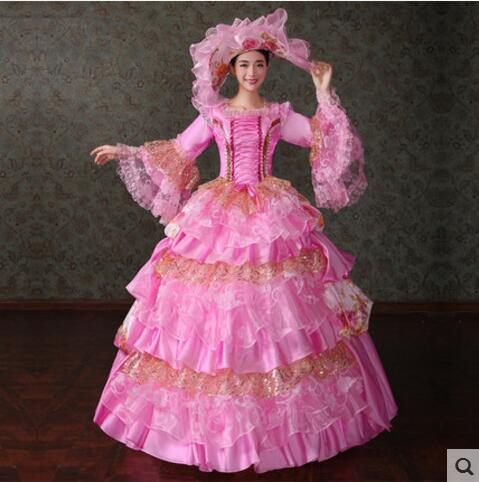FREE PP S-3XL Hot Ball Gowns Adult Princess Costume Victorian Dress Halloween Costumes for Women Lolita Dress Three Colors