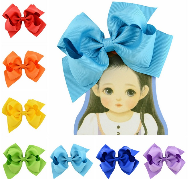 Girls Large Double Layers Hairbow Baby Hair Bows Grosgrain Ribbon Clips Novelty