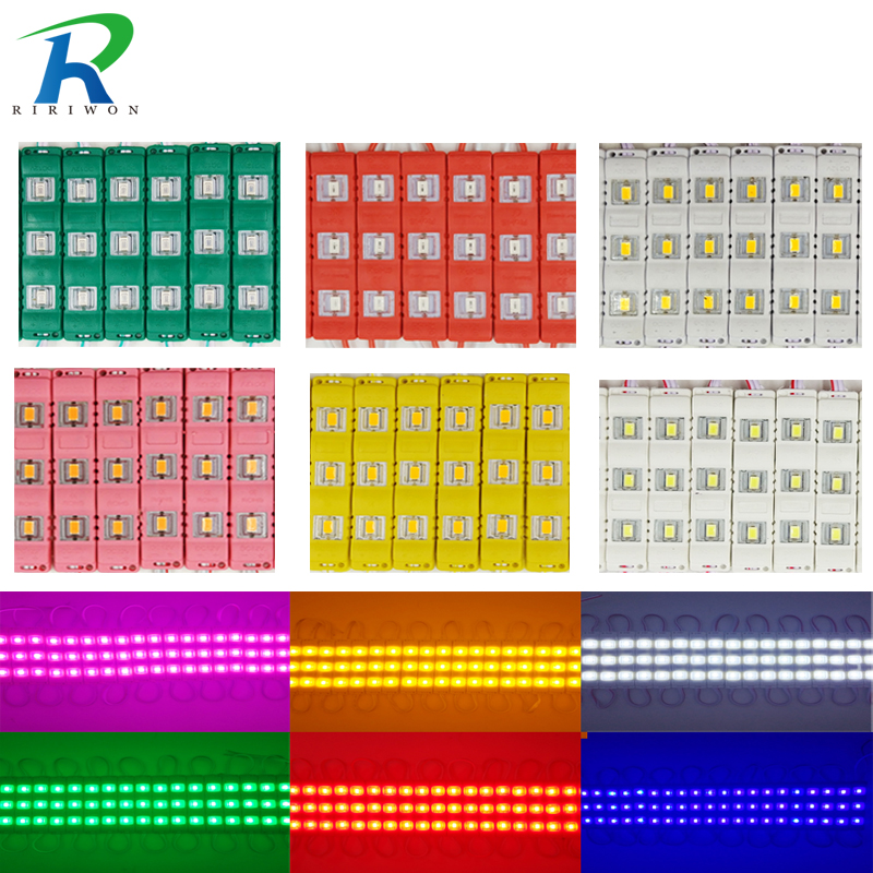 20pcs 12V Waterproof 5730 3LEDs Injection Molding LED Module Super Bright Led Modules Lighting Red/green/blue/Yellow/Pink/Warm