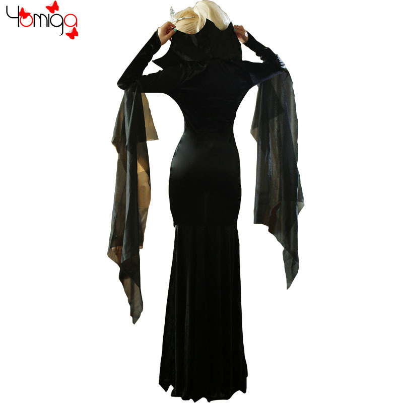 2015 New Black Queen Costume Gothic Dress Cosplay Witch Fantasy