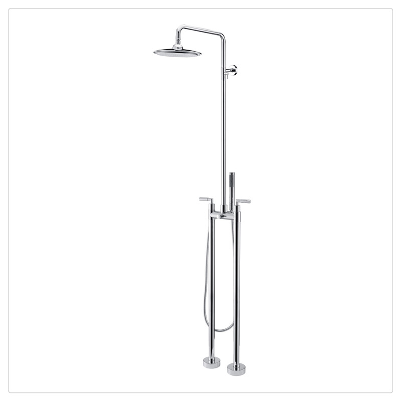 Free Standing Floor Mounted Bathtub Faucet With Handheld Shower Wand