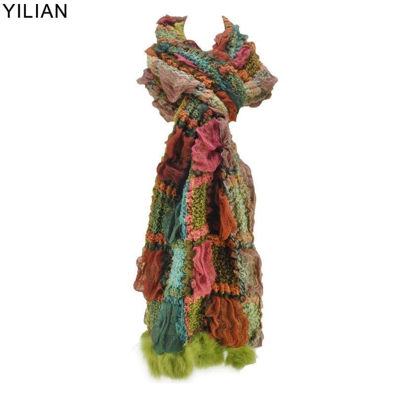 YiLiAN zīmola 6 krāsas siltas ziemas šalles Jauna ierašanās sievietēm uzklāta krāsu bloka trikotāžas šalle ar trušu kažokādu SF462