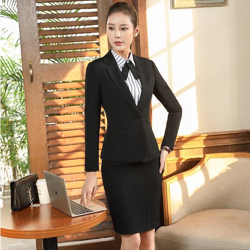 Trendmarkierung Formale Ol Stile Blazer Anzüge Mit Jacken Und Rock Professional Office Arbeit Tragen Business Frauen Outfits Uniformen Plus Größe Anzüge & Sets