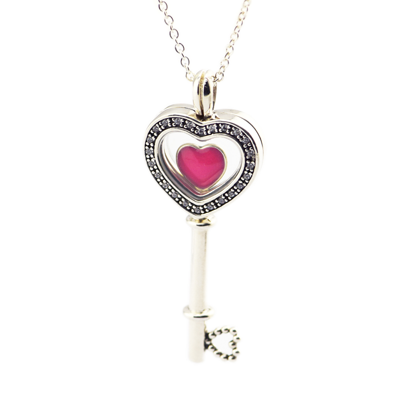 2018 New Floating Locket Heart Key Pendant & Necklace with Heart Petites 100% 925 Sterling Silver Fine Jewelry Free Shipping