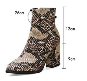 Image 5 - Print Snakeskin Booties Women Ankle Boots Zip Pointed Toe Footwear Thick High Heels Female Snake Boot Women 2020 New g403