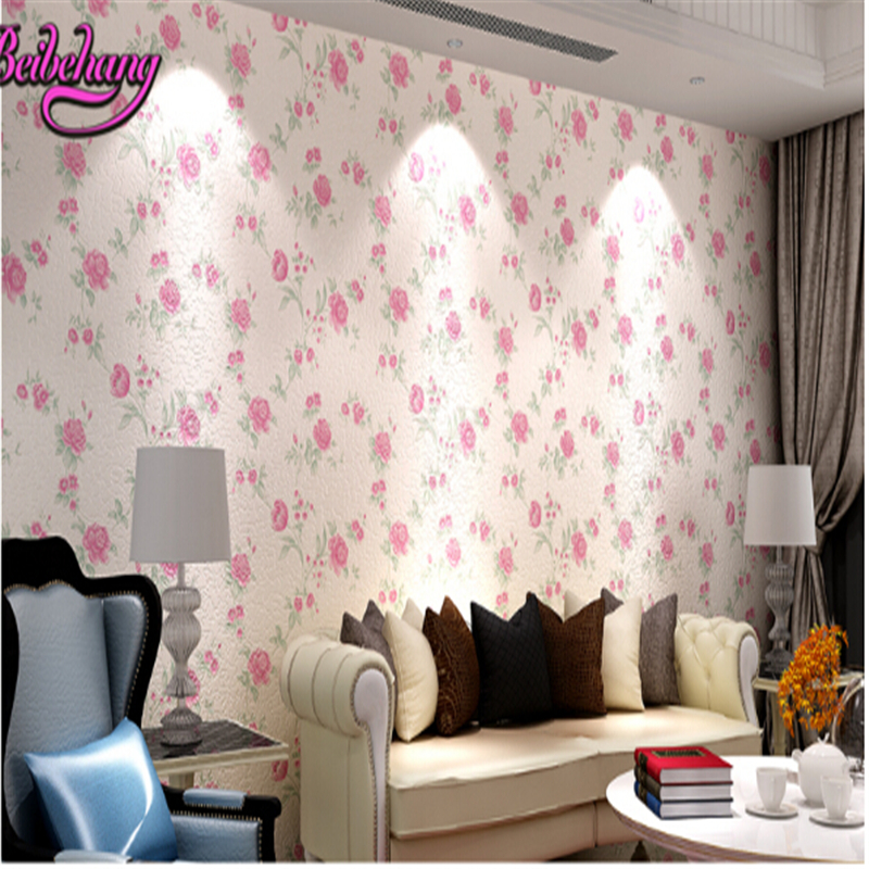 beibehang papel de parede Korean rural three-dimensional relief 3D decorative wallpaper background wall paper non woven fabrics beibehang papel de parede 3d dimensional relief korean garden flower bedroom wallpaper shop for living room backdrop wall paper