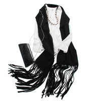 100 Cashmere Scarf Women Black Pashmina with Tassels Pure Cashmere Scarf Luxurious Shawl Brand High Quality Free Shipping