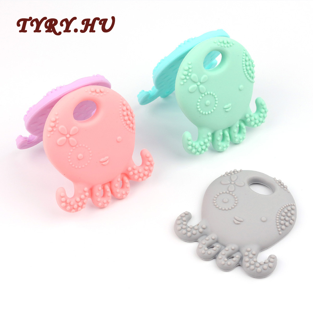 TYRY.HU Octopus Silicone Teether BPA Free Silicone Pendant For DIY Pacifier Clip Soother Chain Baby Teething Toys Pacifier Chain