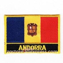 Вышивка Патчи Национальный эмблема флага Флаг Андорры термонаклейки 8,0x5,0 см Индивидуальные нашивки