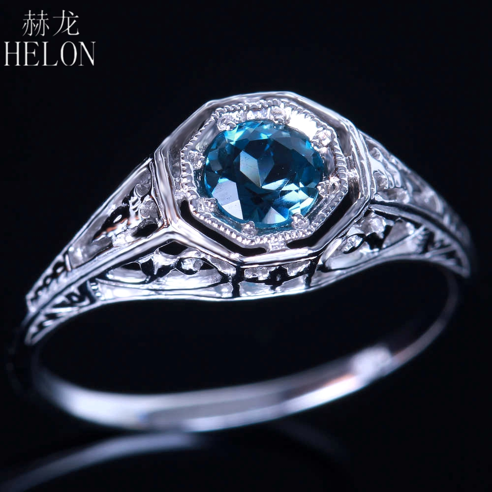 HELON 925 STERLING SILVER ANTIQUE FILIGREE NATURAL BLUE TOPAZ ART DECO STYLE VINTAGE RING WOMEN'S WEDDING ANNIVERSARY RING