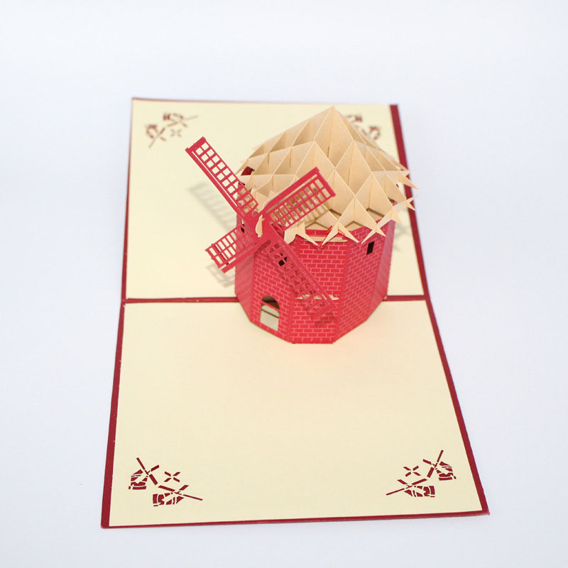 3d laser cut handmade holland windmill paper invitation greeting 3d laser cut handmade holland windmill paper invitation greeting cards postcard business adult kids creative gift souvenir in cards invitations from home m4hsunfo