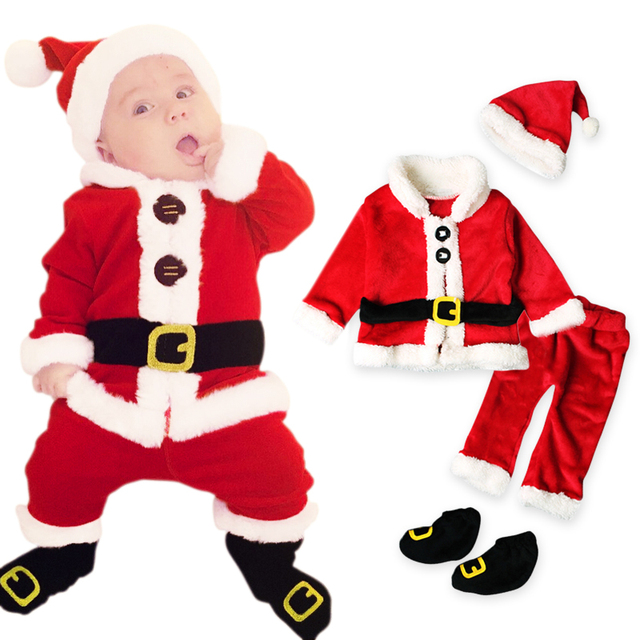8321f4cf9c851 Christmas Costume Baby Clothes Sets Baby Santa Claus Long Sleeve Clothes+Hat+Socking  4Pcs Suits Toddler Baby Clothes Warm Fleece