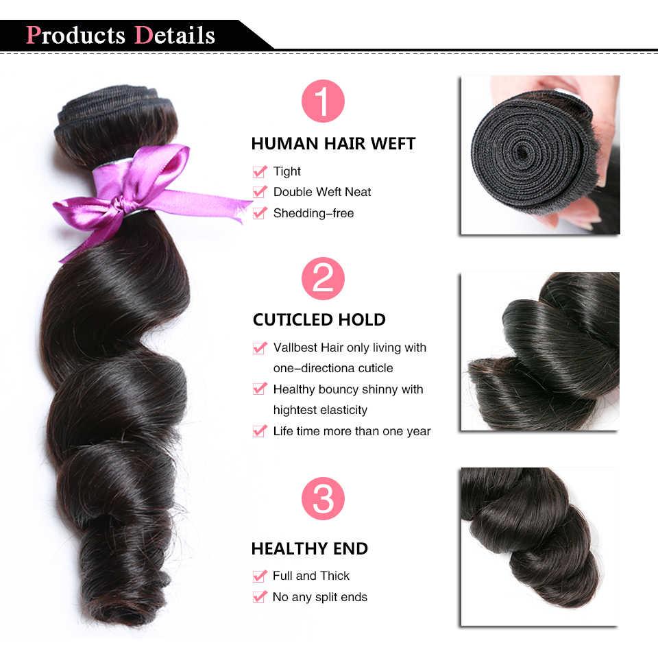 Vallbest brezilyalı saç örgü gevşek dalga demetleri doğal siyah 1/3/4 adet/grup 100% İnsan saç paketler Remy saç uzantıları