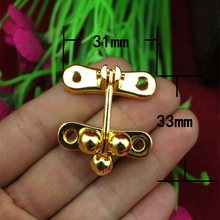 31*33MM 30pcs handbag hasp latch jewelry wooden gift box padlock buckle drawers cabinet hardware hasp decorative wine box clasp(China)