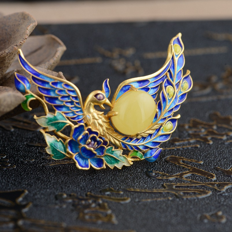 Cerf roi bijoux pendentif cire d'abeille S925 argent Phoenix porter pivoine antique Shaolan femme nouvelle technologie