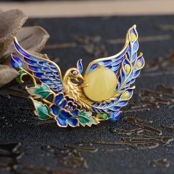 Deer King jewelry pendant beeswax S925 silver Phoenix wear peony antique Shaolan female new technology