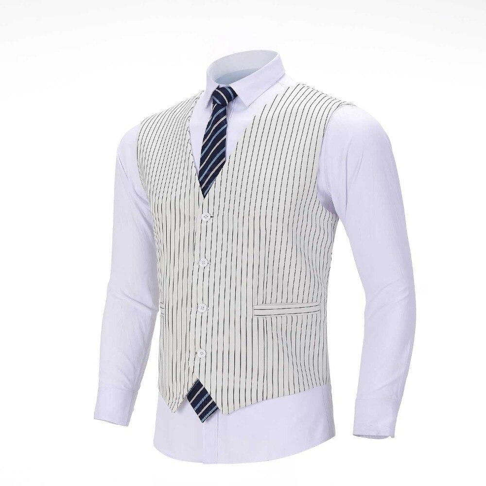 2020 New Men's Pinstripe Vest White Suit Vest Formal Business Waistcoat Groomsmen Customizable For Wedding
