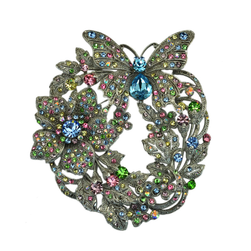 Vintage Style Big Flower Butterfly Brooch Pin Pendant Black Crystasls Rhinestone Brooches For Women Jewelry Accessories chic rhinestone christmas deer shape brooch jewelry for women