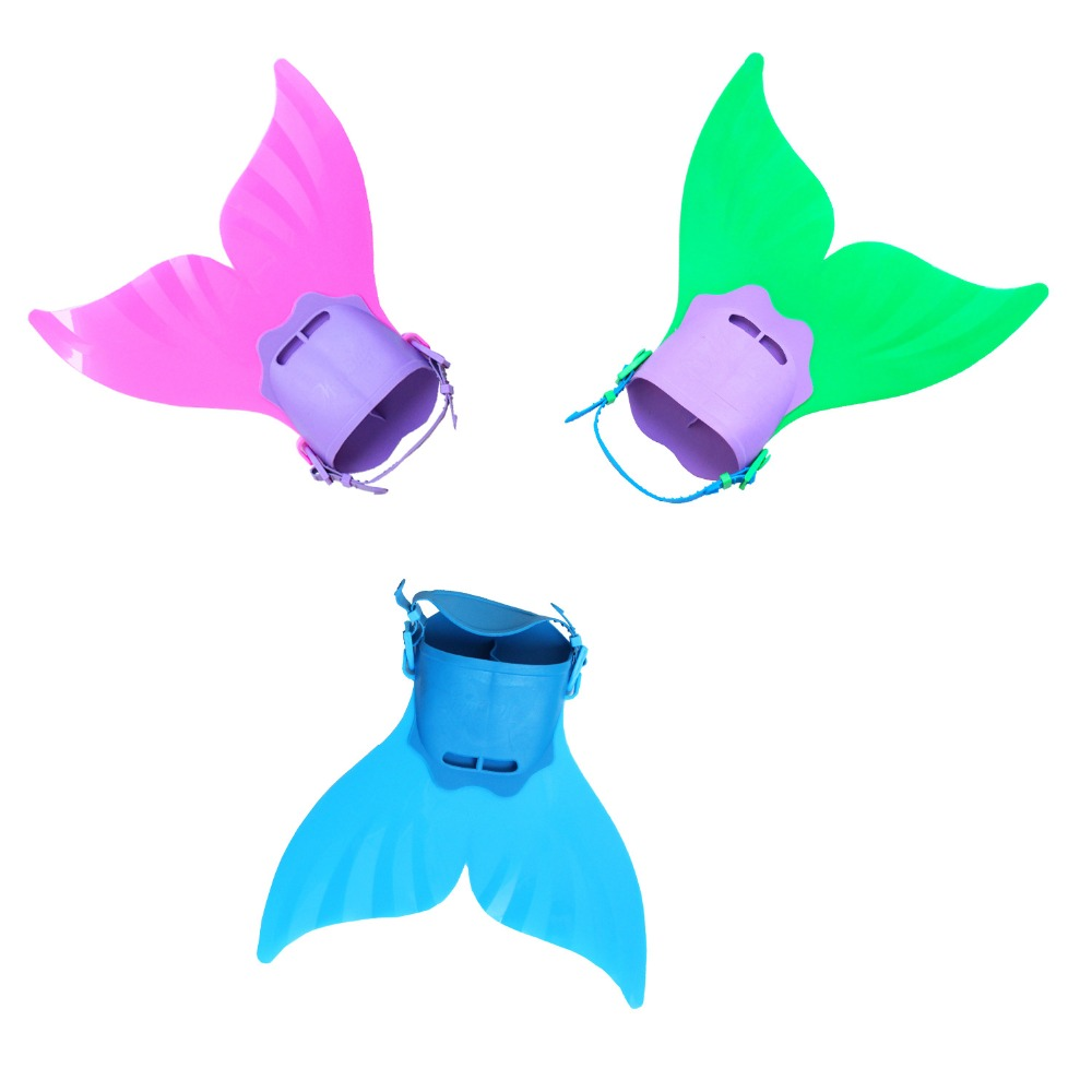 Kids Girls Swimming Mermaid Tail Monofin Red Blue Green Flippers Real Swimmable Mermaid Tail Fin Costumes For Children