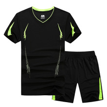 2019 New Summer Men Set Sporting Suit Short Sleeve T shirt+Shorts Two Piece Set Sweatsuit Quick Drying Tracksuit For Men M-9XL