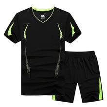GSPBG 2017 Fashion Summer Men Set Sporting Suit Short Sleeve T shirt+Shorts Two Piece Set Quick Drying Tracksuit For Men M-9XL