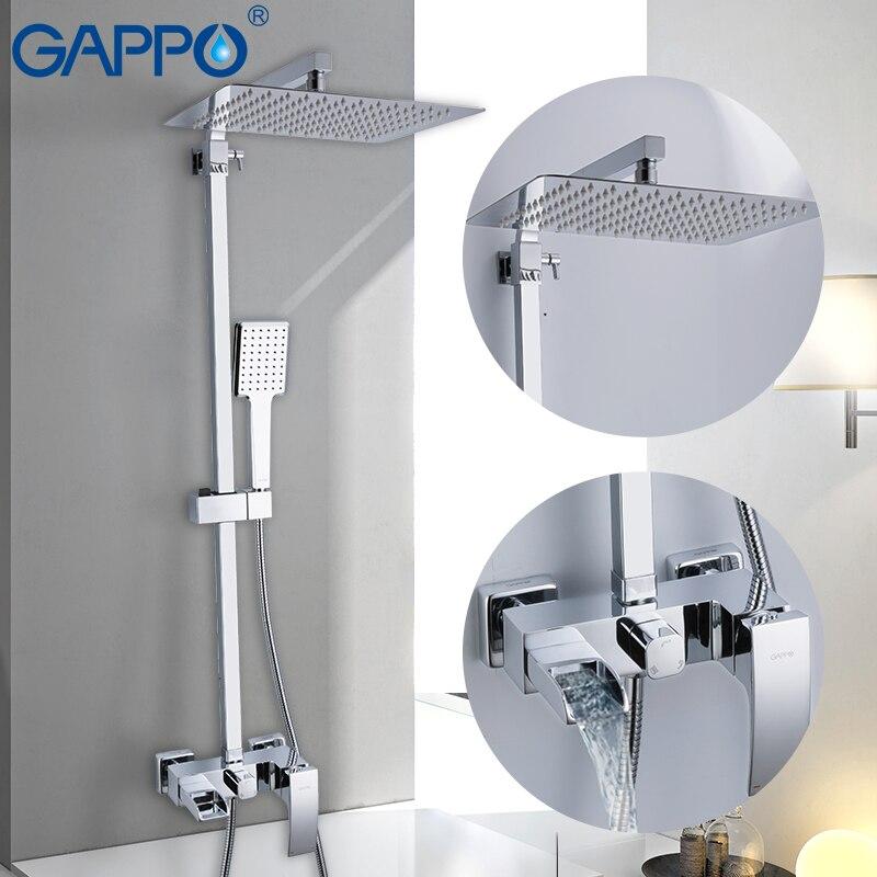 GAPPO Torneiras chuveiro fixado na parede do chuveiro torneiras de bronze conjuntos de banho de chuveiro do banheiro chuvas torneira da banheira cachoeira griferia