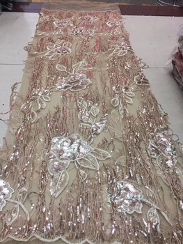 hot sale sequines French tulle lace fabric for wedding dress On sale price,free shipping