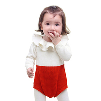 Kids Newborn Baby Girl Winter Bodysuit Ruffles Neck Long Sleeve Infant Jumpsuit One Piece Knitted Clothes