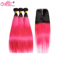 Mshere Straight Ombre Hair Bundles With Closure 1B/Pink Brazilian Human Hair Weave Bundles With Closure Pre Plucked Remy Hair