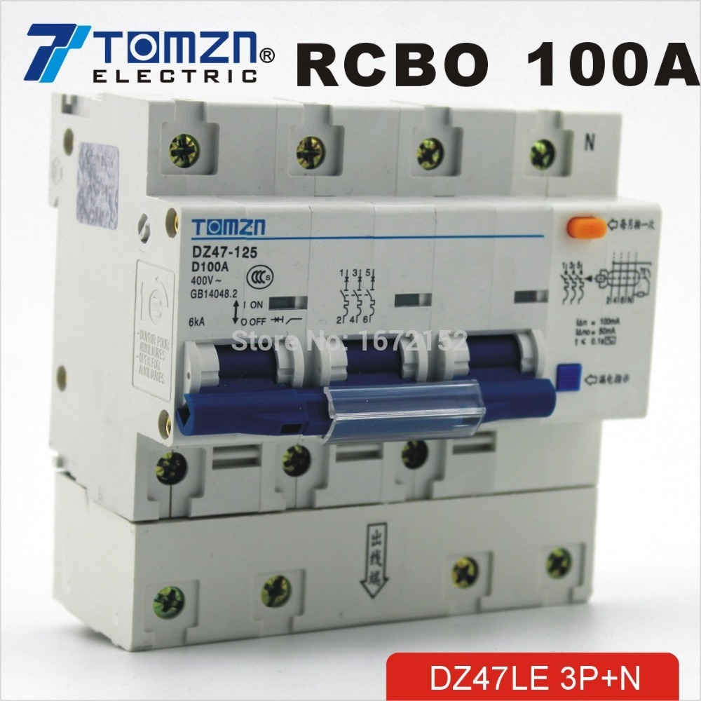 DZ47LE 3P+N 100A D type 400V~ 50HZ/60HZ Residual current Circuit breaker with over current and Leakage protection RCBO dz47le 3p n 63a 400v 50hz 60hz residual current circuit breaker with over current and leakage protection rcbo
