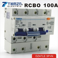 DZ47LE 3P+N 100A D type 400V~ 50HZ/60HZ Residual current Circuit breaker with over current and Leakage protection RCBO