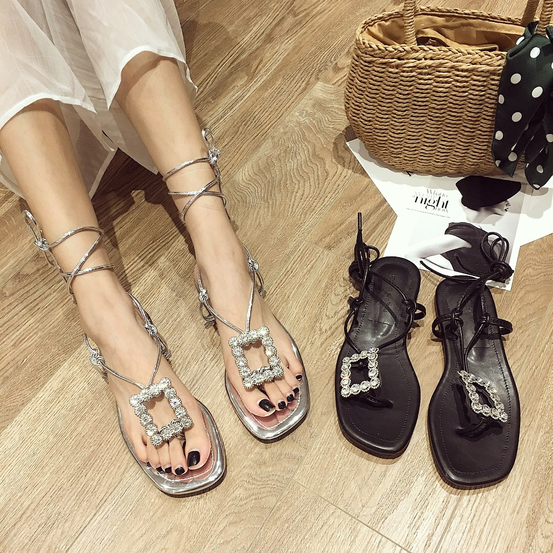 3556G bottom toe sandals female 2018 new square buckle rhinestones wild lace Roman shoes chic beach shoes3556G bottom toe sandals female 2018 new square buckle rhinestones wild lace Roman shoes chic beach shoes
