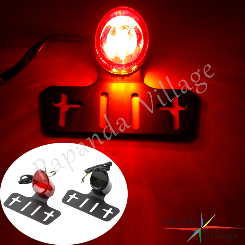 Motorbike Emark E11 Taillight Rear Brake Lamp License Plate Light With Bracket For Harley Cafe Racer Bobber Chopper Street Bikes