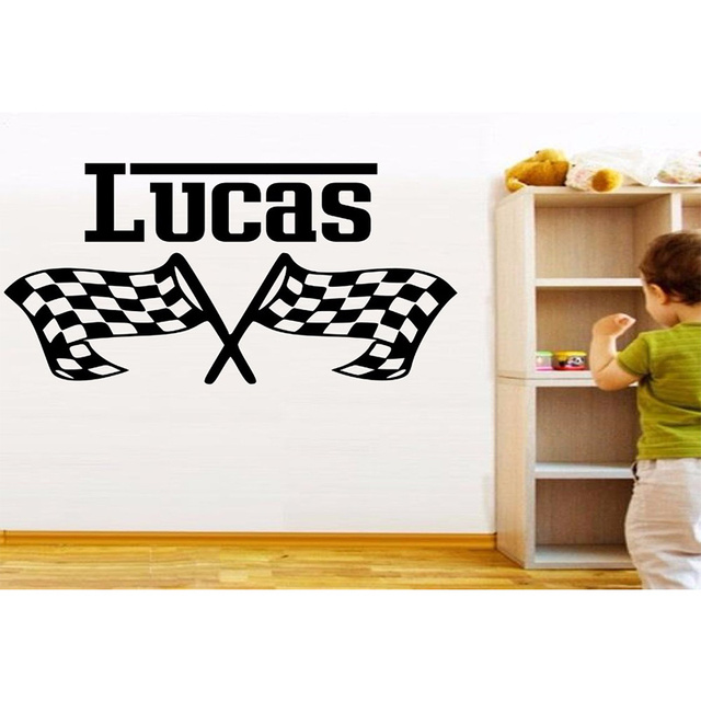 Race Flags Customized Personalised Vinyl Wall Sticker Any Name Art - Personalised vinyl stickers