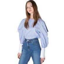 Lantern Sleeve Women Blouse Stripe Crew Neck Zipper Back Female Shirts Ruffles Contrast Slim Elegant Tops For Wholesale