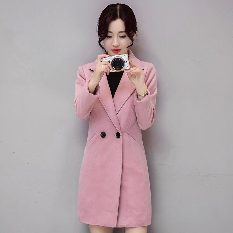 Ms Spring and Autumn In the long section Thicker Self cultivation Large size Woolen font b