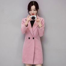 Ms Spring and Autumn In the long section Thicker Self-cultivation Large size Woolen jacket