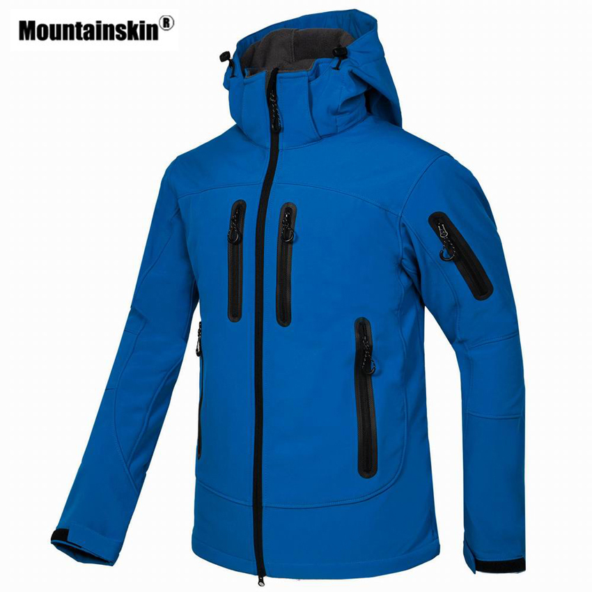 цена Mountainskin Men's Autumn Softshell Fleece Jacket Outdoor Sports Windbreaker Hiking Camping Trekking Climbing Brand Coats VA302