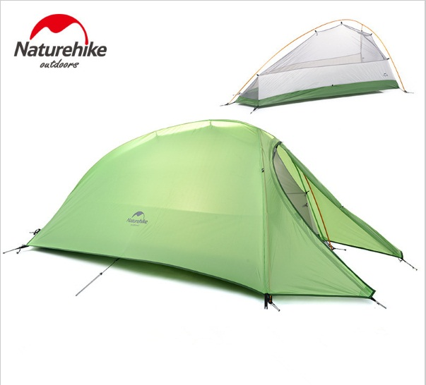 Naturehike NH15T001-T 4 Season Ultra-light Aluminum Double-layer Waterproof Tent Outdoor Camping One Person Tent naturehike 3 person camping tent 20d 210t fabric waterproof double layer one bedroom 3 season aluminum rod outdoor camp tent