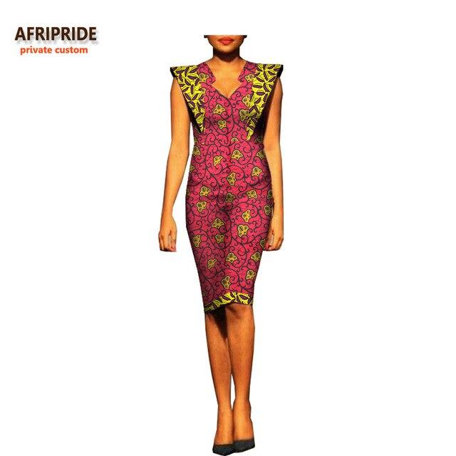 bc47da1c5b4 2018 african summer women dress AFRIPRIDE fashion short batwing sleeve  V-neck knee-length casual cotton dress for women A7225121