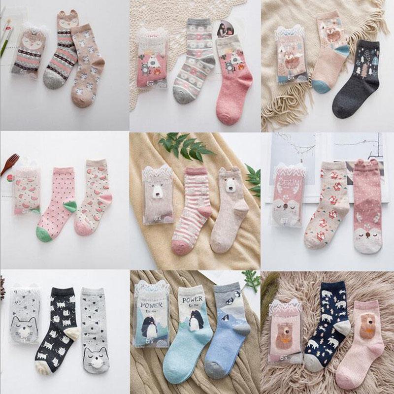 Brand Caramella autumn winter cute cartoon series cotton   socks   for women fashion animal pattern female tide   socks   2pairs/lot
