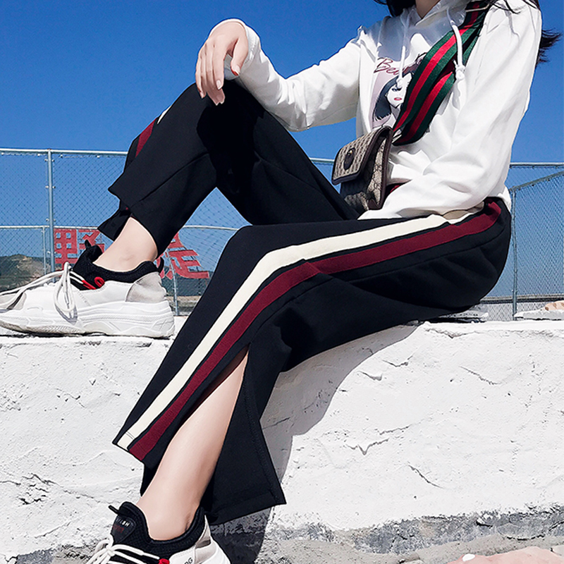 good quality Harajuku 2018 autumn Black Ladies Side Split Striped   Pants   High Waisted   Wide     Leg     Pants   Women Casual Loose Trousers