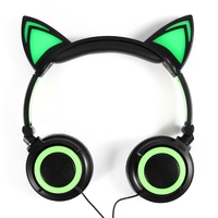 New Cute Glow Wired Cat Ear Headphones For Girls Led Cat Ears Headphone Children Luminous Headphones