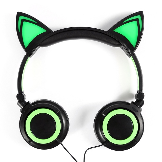 New Cute Glow Wired Cat Ear Headphones for Girls Led Cat Ears ...