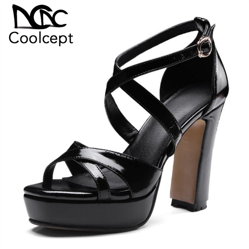 Coolcept 2019 Fashion New Women Real Leather High Heel Sandals Ankle Strap Platform Sandals Summer Party