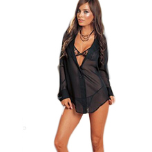 Hot Sale Women Chiffon Sexy Lingerie Set Bra And Thongs Transparent Long Sheeves Babydoll Fancy Underwear Sex Customes QQ458