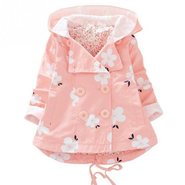 7768698f96a8 Autumn Spring flower Hooded Girls Coat Top Autumn Winter Warm Kids ...