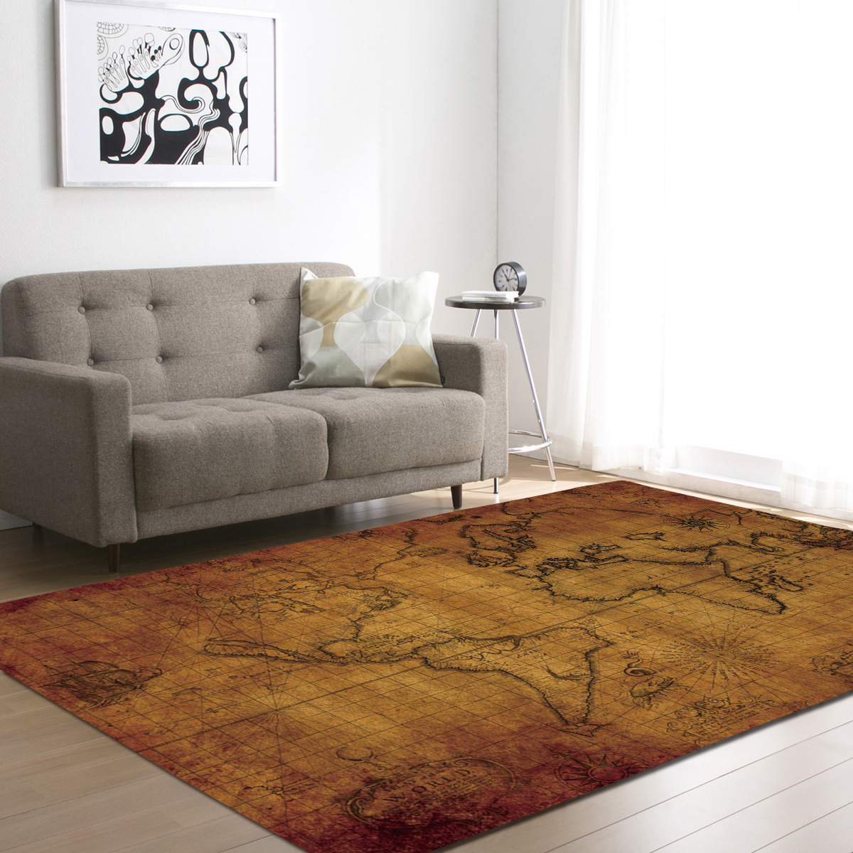 7 Colors Demissir World Map Print Large Carpet For Living Room