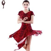 Latin Dance Dress Women V-Neck Leopard/Black/Rose Roupa Infantil Feminina Cha Cha/Rumba/Samba/Ballroom Dancing Dress DQ14007