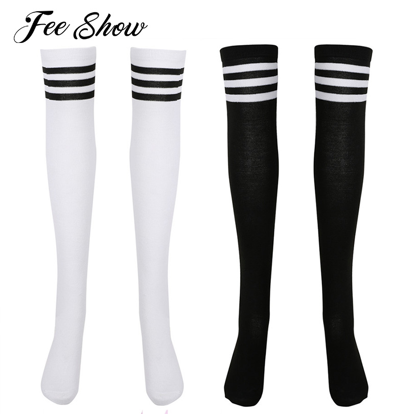 2 Pairs Women Girls Striped Over Knee Thigh High Knitted Stockings Tube Dresses Fashionable Girls Elastic Comfortable Stockings